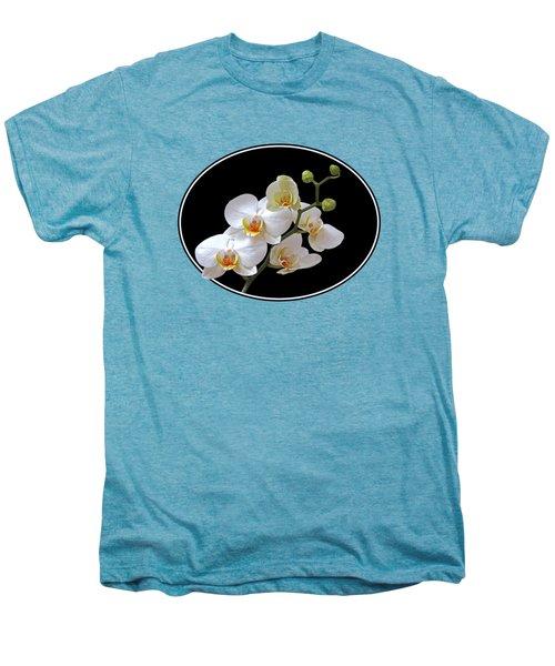 White Orchids On Ocean Blue Men's Premium T-Shirt by Gill Billington