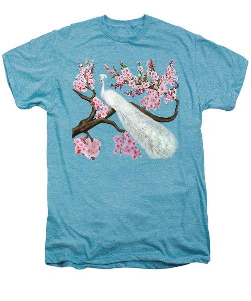 Cherry Blossom Peacock Men's Premium T-Shirt by Glenn Holbrook