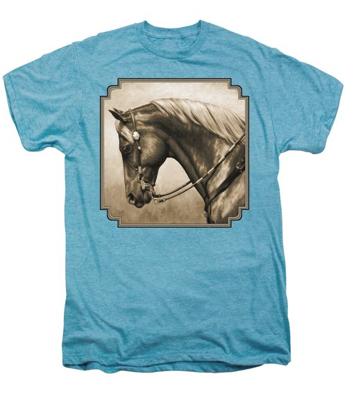 Western Horse Painting In Sepia Men's Premium T-Shirt by Crista Forest