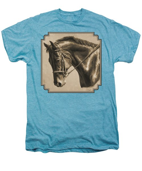 Horse Painting - Focus In Sepia Men's Premium T-Shirt by Crista Forest