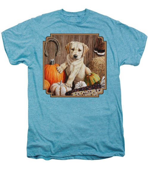 Pumpkin Puppy Men's Premium T-Shirt by Crista Forest