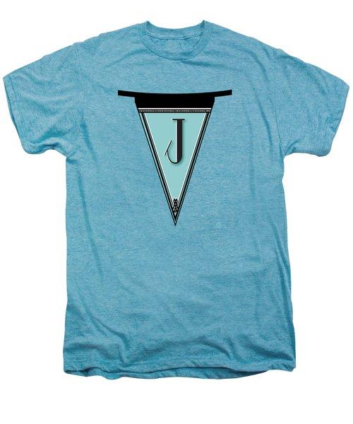 Pennant Deco Blues Banner Initial Letter J Men's Premium T-Shirt by Cecely Bloom
