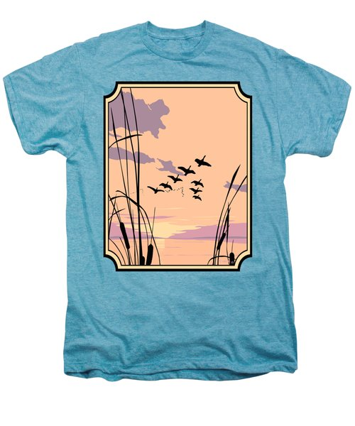 Abstract Ducks Sunset 1980s Acrylic Ducks Sunset Large 1980s Pop Art Nouveau Painting Retro      Men's Premium T-Shirt by Walt Curlee