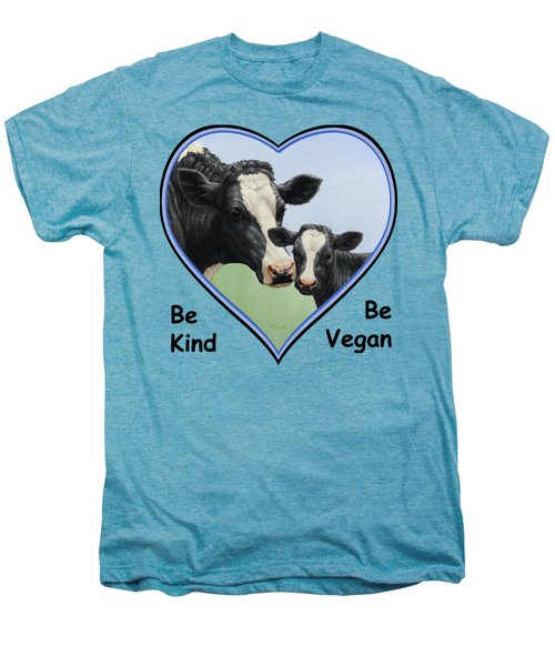 Holstein Cow And Calf Blue Heart Vegan Men's Premium T-Shirt by Crista Forest