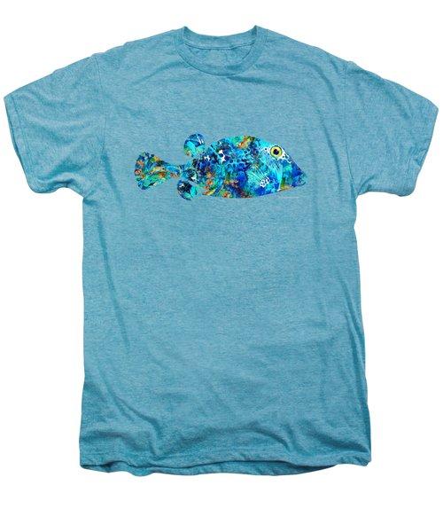 Blue Puffer Fish Art By Sharon Cummings Men's Premium T-Shirt by Sharon Cummings