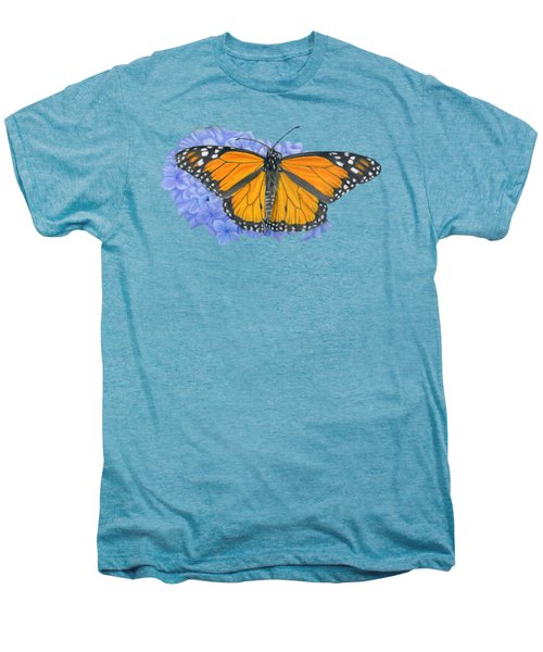 Monarch Butterfly And Hydrangea- Transparent Background Men's Premium T-Shirt by Sarah Batalka