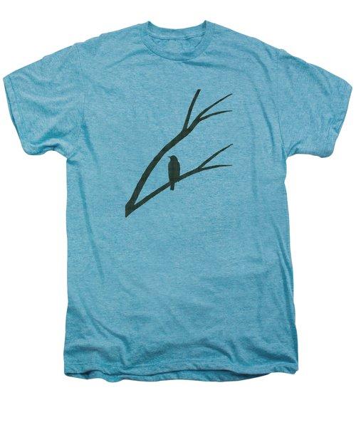 Green Bird Silhouette Plaid Bird Art Men's Premium T-Shirt by Christina Rollo