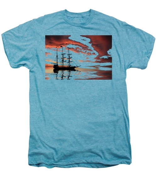 Pirate Ship At Sunset Men's Premium T-Shirt by Shane Bechler