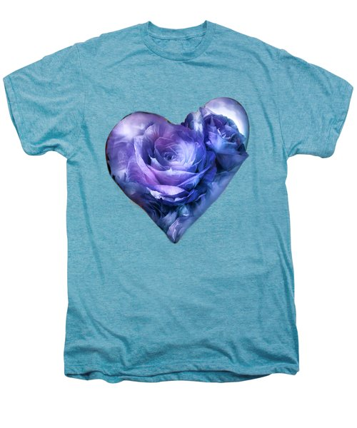 Heart Of A Rose - Lavender Blue Men's Premium T-Shirt by Carol Cavalaris