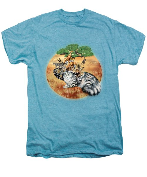 Cat In The Safari Hat Men's Premium T-Shirt by Carol Cavalaris