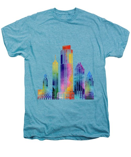 Austin Landmarks Watercolor Poster Men's Premium T-Shirt by Pablo Romero