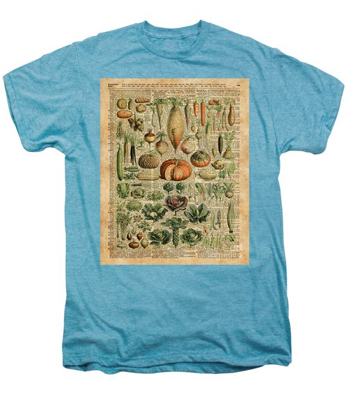 Autumn Fall Vegetables Kiche Harvest Thanksgiving Dictionary Art Vintage Cottage Chic Men's Premium T-Shirt by Jacob Kuch