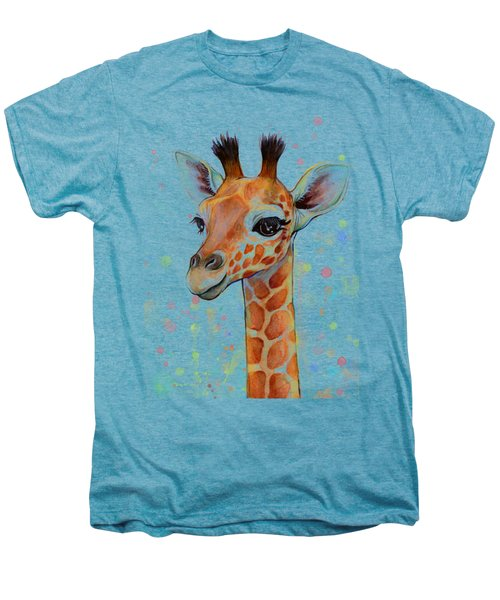 Baby Giraffe Watercolor  Men's Premium T-Shirt by Olga Shvartsur
