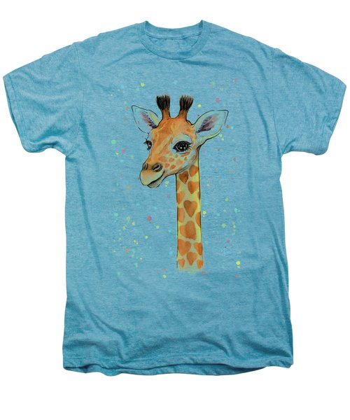 Baby Giraffe Watercolor With Heart Shaped Spots Men's Premium T-Shirt by Olga Shvartsur