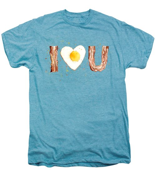 Bacon And Egg I Heart You Watercolor Men's Premium T-Shirt by Olga Shvartsur