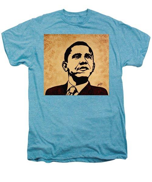 Barack Obama Original Coffee Painting Men's Premium T-Shirt by Georgeta  Blanaru