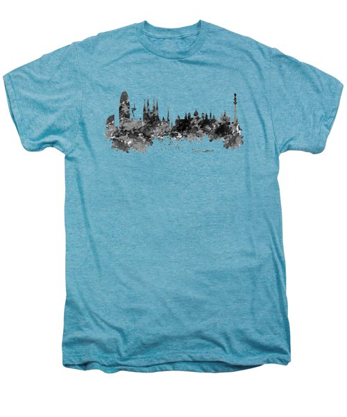 Barcelona Black And White Watercolor Skyline Men's Premium T-Shirt by Marian Voicu