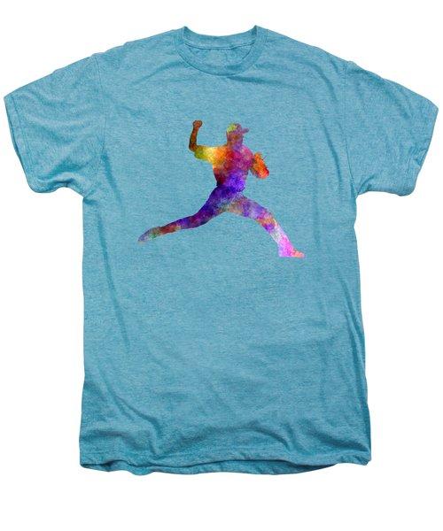 Baseball Player Throwing A Ball 01 Men's Premium T-Shirt by Pablo Romero