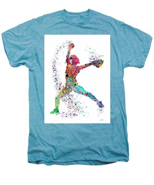 Baseball Softball Pitcher Watercolor Print Men's Premium T-Shirt by Svetla Tancheva