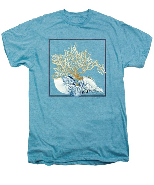 Beach House Nautilus Scallop N Conch With Tan Fan Coral Men's Premium T-Shirt by Audrey Jeanne Roberts