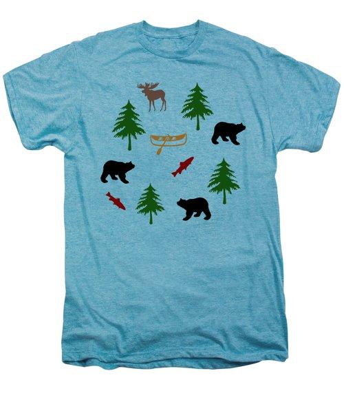 Bear Moose Pattern Men's Premium T-Shirt by Christina Rollo