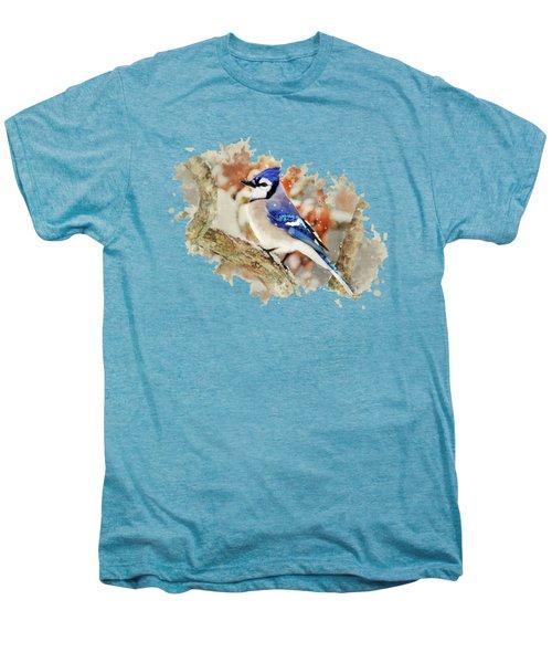 Beautiful Blue Jay - Watercolor Art Men's Premium T-Shirt by Christina Rollo