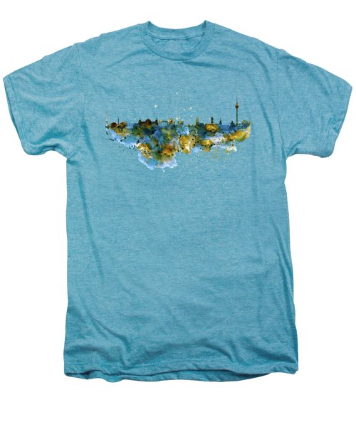 Berlin Watercolor Skyline Men's Premium T-Shirt by Marian Voicu