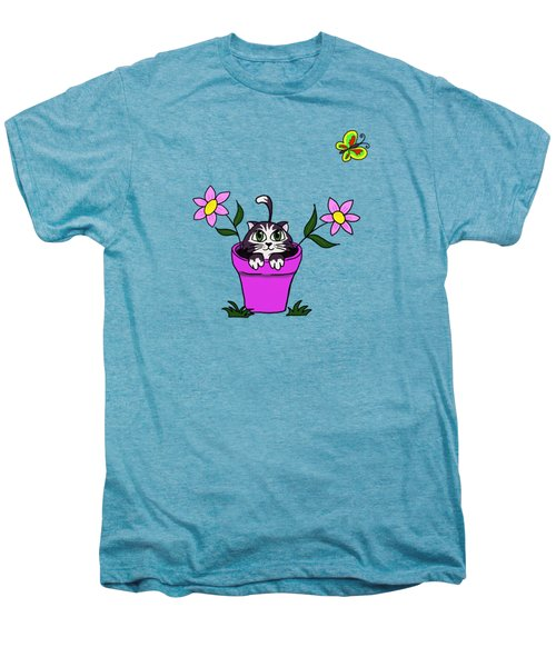 Big Eyed Kitten In Flower Pot Men's Premium T-Shirt by Lorraine Kelly