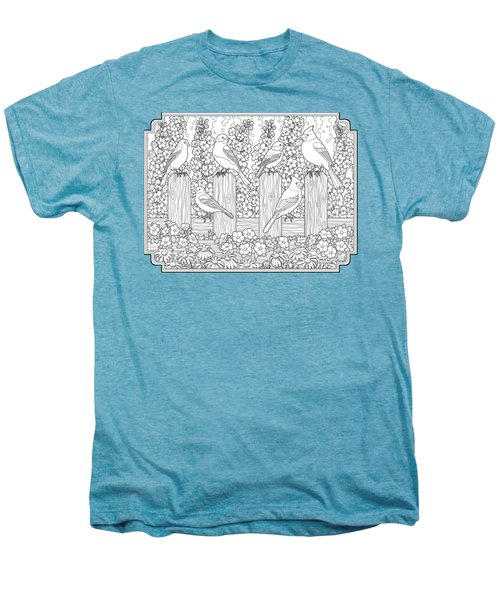 Birds In Flower Garden Coloring Page Men's Premium T-Shirt by Crista Forest