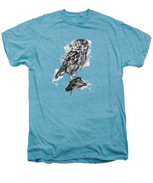 Black And White Owl Men's Premium T-Shirt by Marian Voicu
