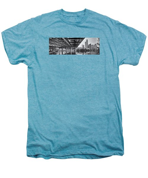 Black And White Panorama Of Downtown Austin Skyline Under The Bridge - Austin Texas  Men's Premium T-Shirt by Silvio Ligutti
