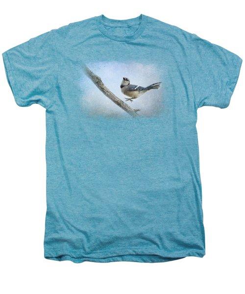 Blue Jay In The Snow Men's Premium T-Shirt by Jai Johnson