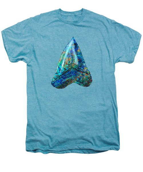 Blue Shark Tooth Art By Sharon Cummings Men's Premium T-Shirt by Sharon Cummings