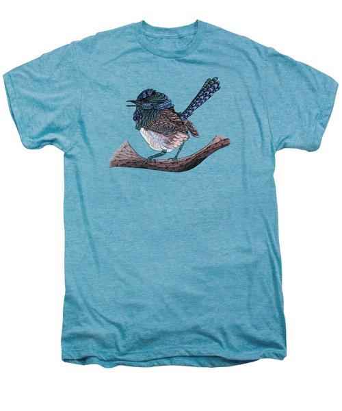 Blue Zen Wren Paisley Bird Men's Premium T-Shirt by Lorraine Kelly