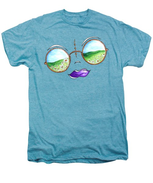 Boho Gypsy Daisy Field Sunglasses Reflection Design From The Aroon Melane 2014 Collection By Madart Men's Premium T-Shirt by Megan Duncanson