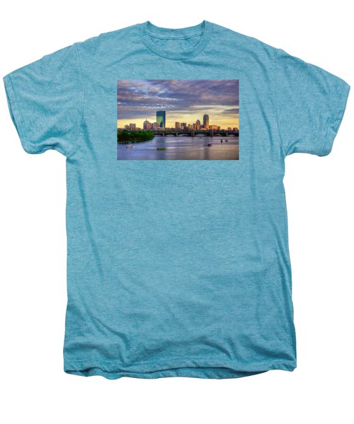 Boston Skyline Sunset Over Back Bay Men's Premium T-Shirt by Joann Vitali