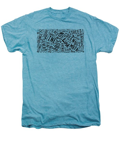 Boston Subway Or T Stops Word Cloud Men's Premium T-Shirt by Edward Fielding