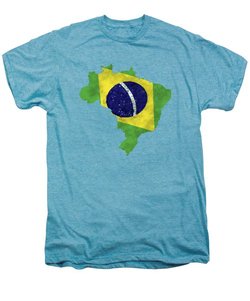 Brazil Map Art With Flag Design Men's Premium T-Shirt by World Art Prints And Designs