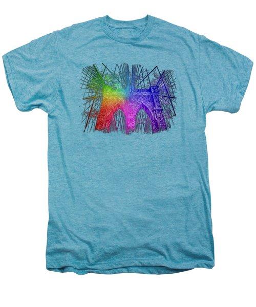 Brooklyn Bridge Cool Rainbow 3 Dimensional Men's Premium T-Shirt by Di Designs