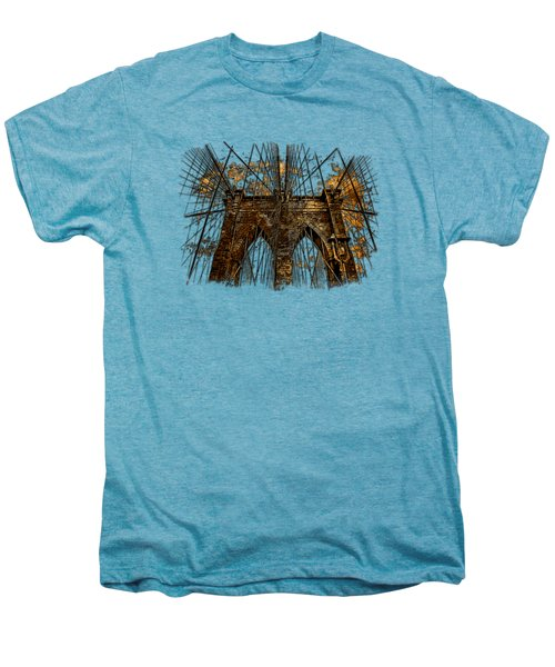Brooklyn Bridge Earthy 3 Dimensional Men's Premium T-Shirt by Di Designs