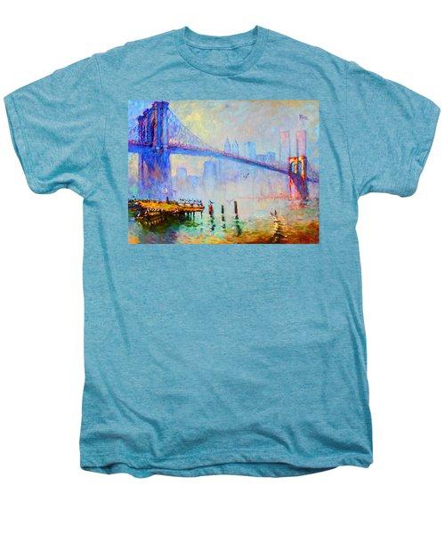 Brooklyn Bridge In A Foggy Morning Men's Premium T-Shirt by Ylli Haruni