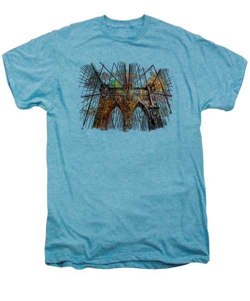 Brooklyn Bridge Muted Rainbow 3 Dimensional Men's Premium T-Shirt by Di Designs
