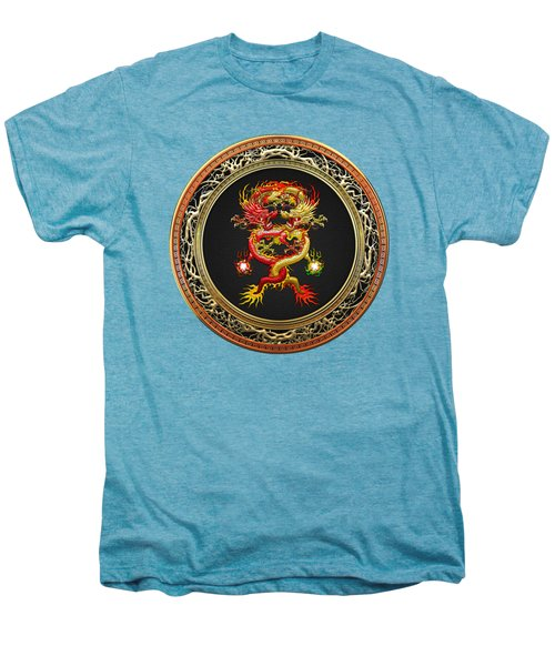 Brotherhood Of The Snake - The Red And The Yellow Dragons On White Leather Men's Premium T-Shirt by Serge Averbukh