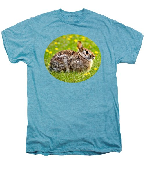 Brown Bunny In Green Grass Men's Premium T-Shirt by Christina Rollo