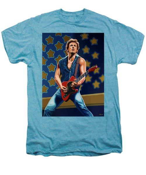 Bruce Springsteen The Boss Painting Men's Premium T-Shirt by Paul Meijering