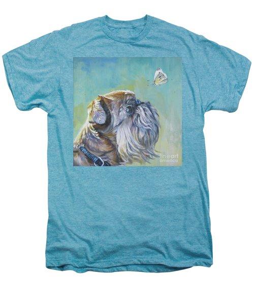 Brussels Griffon With Butterfly Men's Premium T-Shirt by Lee Ann Shepard
