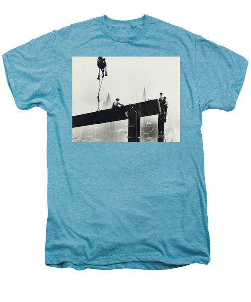 Building The Empire State Building Men's Premium T-Shirt by LW Hine