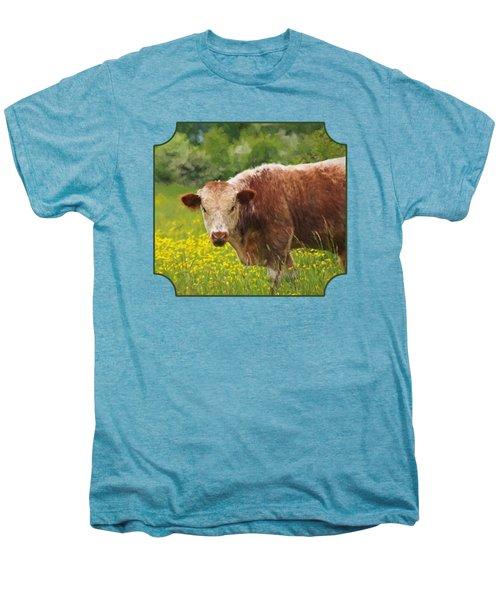 Buttercup - Brown Cow Men's Premium T-Shirt by Gill Billington