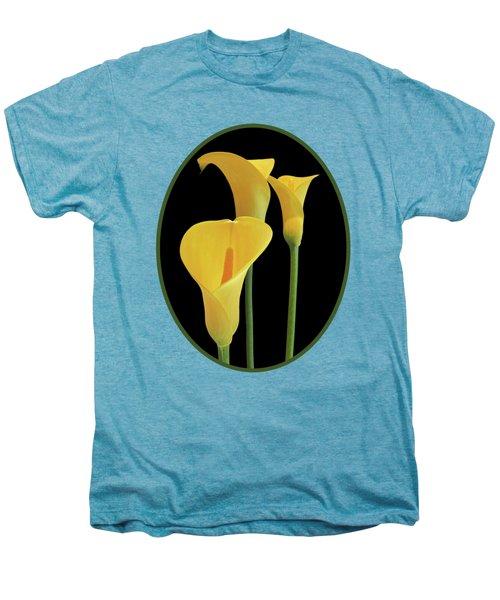 Calla Lilies - Yellow On Black Men's Premium T-Shirt by Gill Billington