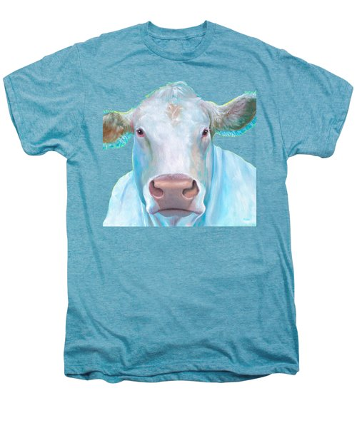 Charolais Cow Painting On White Background Men's Premium T-Shirt by Jan Matson